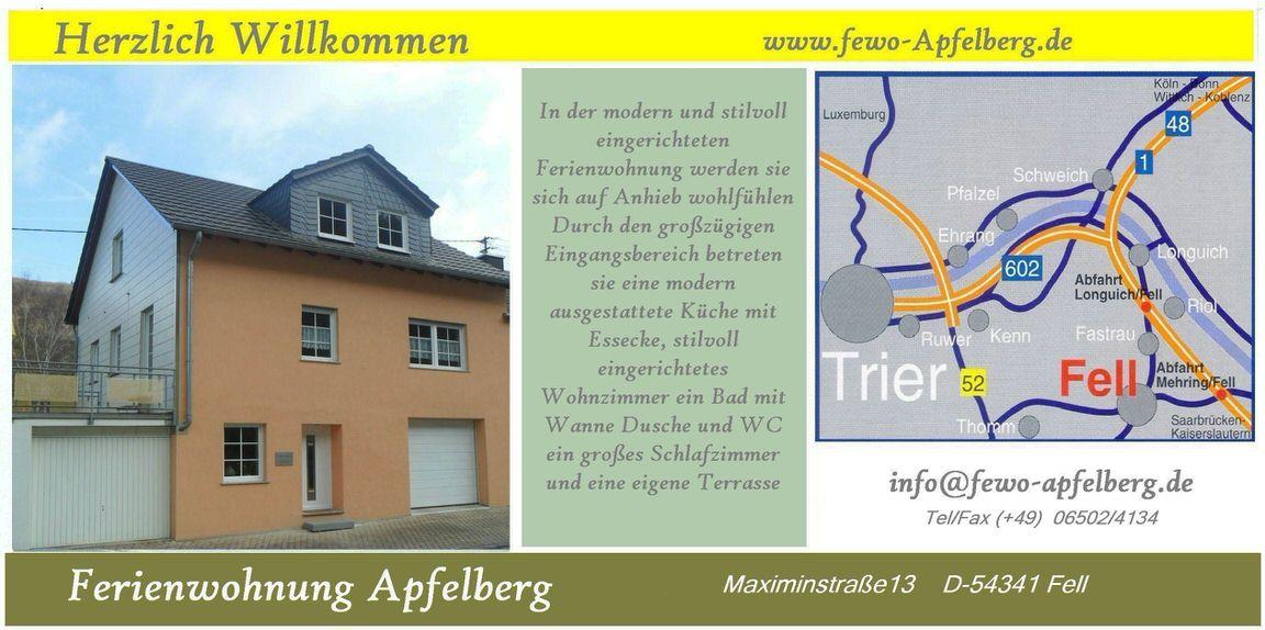 Gästehaus Apfelberg, Monteurzimmer in Fell bei Trier
